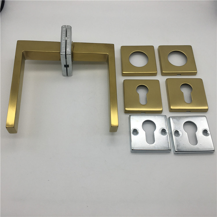 Gold Plating New Casting SS304 Indoor Hollow Square Gold Door Handle